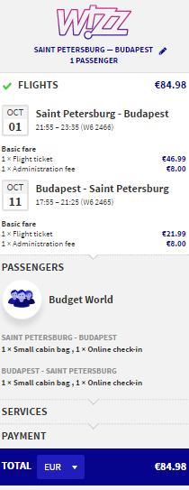 WizzAir. Новый маршрут! Питер ⇄ Будапешт: 5400 руб.