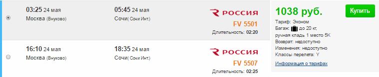 Россия. Чартер. Москва ⇄ Сочи: 2100 руб.