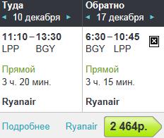 Ryanair. Лаппеенранта – Милан - Лаппеенранта: 2500 руб