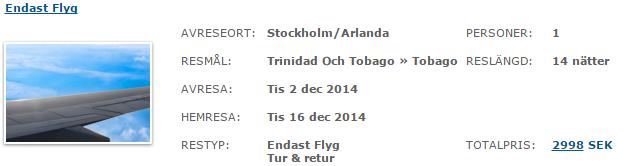 Apollo. Стокгольм - Тринидад и Тобаго - Стокгольм: 215€