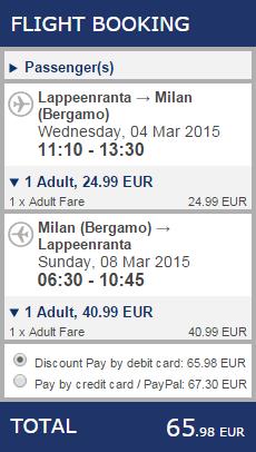 BudgetWorld|Ryanair. Лаппеенранта - Дюссельдорф / Милан - Лаппеенранта:  36€ / 66€