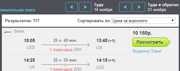 BudgetWorld|SWISS. Питер - Лиссабон - Питер: 10150 руб.