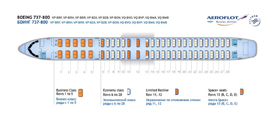 Аэрофлот Боинг 737 схема салона