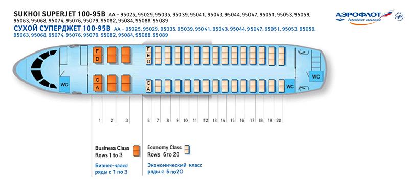 Аэрофлот Сухой Суперджет 100 схема салона