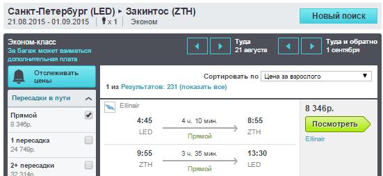 BudgetWorld|BugetWorld |Ellinair. Питер - Закинтос (Греция) - Питер: 8300 руб. [Прямые рейсы на Лето!]