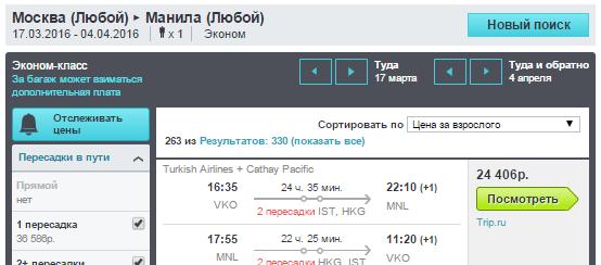 BudgetWorld|Turkish Airlines + Cathay Pacific. Москва - Манила (Филиппины) - Москва: 24400 руб.