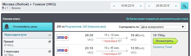 BudgetWorld|Turkish Airlines. Москва - Гонконг - Москва: 19800 руб. [на Лето!]
