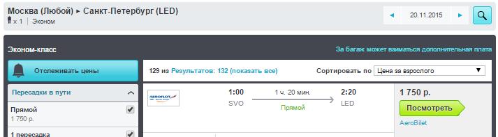 BudgetWorld|Аэрофлот + Ural Airlines. Перелеты между Питером и Москвой: 1700 руб. (в одну сторону)