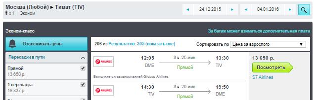 BudgetWorld|S7. Москва - Тиват (Черногория) - Москва: 13600 руб. [на Новый Год!]