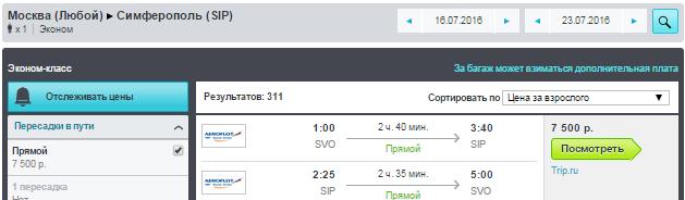 Москва - Симфирополь - Москва