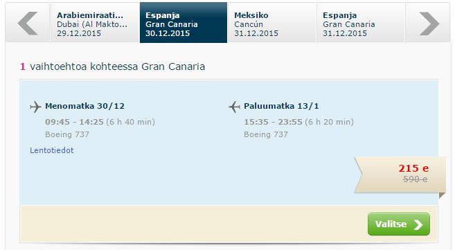 Finnmatkat. Чартеры в Новогодние каникулы. Хельсинки ⇄ Канары / Канкун (Мексика) / Ямайка[Прямые рейсы!]