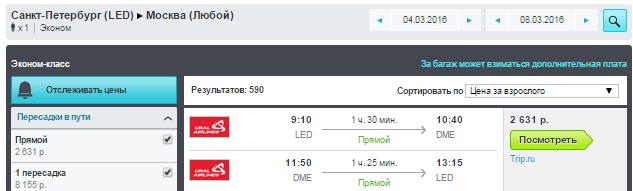 Ural Airlines. Москва ⇄ Санкт-Петербург