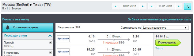 Москва - Тиват - Москва [на Лето]