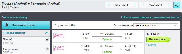 Москва — Тенерифе - Москва
