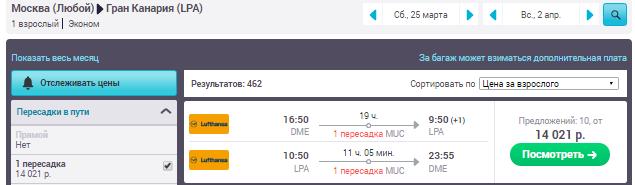 Москва - Лас-Пальмас - Москва