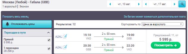 Москва - Габала - Москва