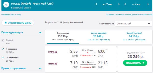 Москва - Чианг-Май - Москва