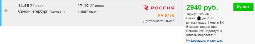 Суперцена! Чартеры в Черногорию. Питер ⇄ Тиват: 5500 руб. [Прямые рейсы, вылеты 27 июля!]